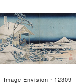 #12309 Photo Of A Man And Women On A Balcony Viewing Mount Fuji In A Snowy Landscape Japan