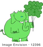 #12396 St Paddy'S Elephant With Balloons Clipart