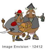 #12412 Cows Dressed As Pirates Clipart