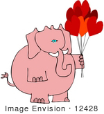 #12428 Pink Elephant Holding Valentine'S Day Balloons Clipart