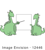#12446 Dragons By A Blank Board Clipart
