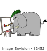 #12452 Artist Elephant Creating A Painting Clipart