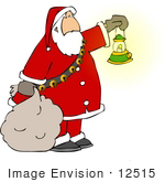 #12515 Santa Carrying A Sack And Holding A Lantern Clipart