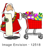 #12518 Santa With A Shopping List And A Cart Full Of Toys Clipart