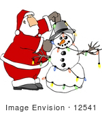 #12541 Santa Putting Lights On A Snowman Clipart