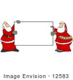 #12583 Two Santas Holding A Blank Sign Clipart