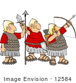 #12584 Three Roman Soldiers Clipart