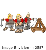 #12587 Soldiers With A Catapult Clipart