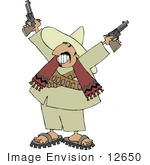 #12650 Male Mexican Bandito With Pistils Clipart