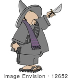 #12652 Bandito With A Gun And Knife Clipart