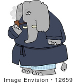 #12659 Elephant In A Robe Smoking A Tobacco Pipe Clipart