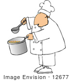 #12677 Chef Holding A Ladle And Pot Of Soup Clipart