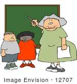 #12707 Teacher And Two Students By Chalk Board In A Classroom Clipart
