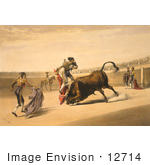 #12714 Picture Of A Matador And Bull In A Bullfight