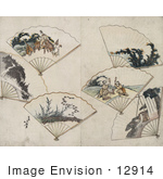 #12914 Photo Of Six Folding Hand Fans With Landscape Scenes