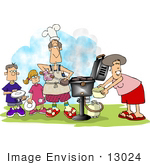 #13024 Caucasian Family Barbequing Clipart