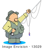 #13029 Caucasian Man In Hat And Vest Wading In Water Flyfishing Clipart