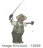 #13030 Senior African American Man Fly Fishing Clipart