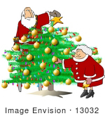 #13032 Mr And Mrs Claus Decorating The Christmas Tree Clipart