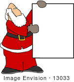 #13033 Caucasian Santa Claus Holding A Blank Sign Clipart