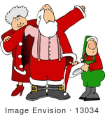 #13034 Mrs Claus Helping Santa Put On His Coat Clipart