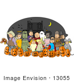 #13055 Large Group Of Trick Or Treaters In Costumes On Halloween Near A Haunted House Clipart
