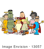 #13057 Group Of Trick Or Treaters In Costume On Halloween Clipart