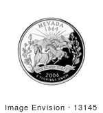#13145 Picture Of Three Wild Mustangs At Sunset On The Nevada State Quarter