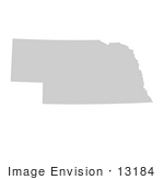 #13184 Picture Of A Map Of Nebraska Of The United States Of America