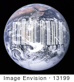 #13199 Picture Of A White Barcode Over Earth