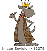 #13279 Dog Wearing A King'S Crown Clipart