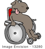 #13280 Injured Dog In A Wheelchair Clipart