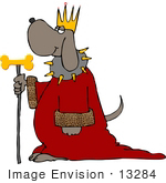 #13284 King Dog With Crown Robe And Dog Bone Scepter Staff Clipart