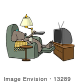 #13289 Dog Watching Television Clipart