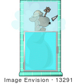 #13291 Dog In A Shower Clipart