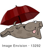 #13292 Dog Under An Umbrella Clipart