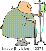 #13378 Senior Caucasian Man In A Hospital Gown With Cane And Ivs Clipart