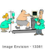 #13381 Middle Aged Caucasian Man Undergoing A Stress Test On A Treadmill Clipart