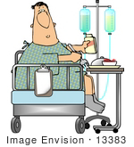 #13383 Middle Aged Caucasian Man In A Hospital Eating A Meal Clipart