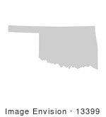 #13399 Picture Of A Map Of Oklahoma Of The United States Of America