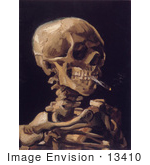 #13410 Picture Of Vincent Van Gogh'S Painting Of A Human Skeleton Smoking A Cigarette