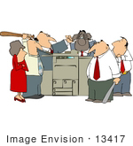 #13417 Angry Group Of Employees Beating Up A Printer Clipart