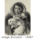 #13467 Picture Of An African American Girl With A Dog