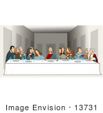 #13731 Picture Of Jesus And Twelve Apostles During The Last Supper Clipart