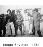 #1381 Photo of a Group of Children, Thanksgiving Maskers, Standing in Costumes by JVPD