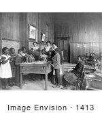 #1413 Photo Of African American School Children Learning About Thanksgiving In Class
