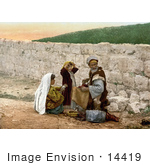 #14419 Picture Of A Shoemaker Man And Children By A Wall In Jerusalem