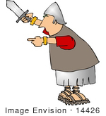#14426 Roman Soldier With Sword Clipart