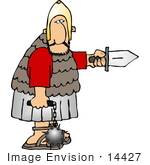 #14427 Roman Soldier With Sword And Flail Ball And Chain Clipart