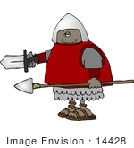#14428 African American Soldier With Sword And Spear Clipart